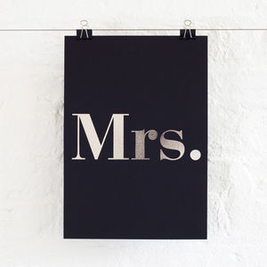 Foil Mrs Print - gifts for the bride