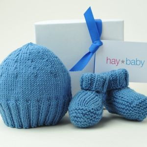 Hand Knitted Hat And Bootie Set