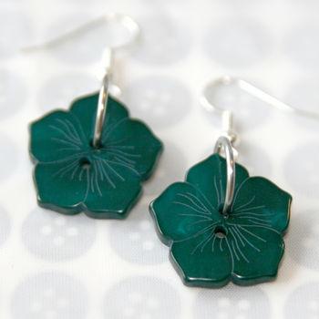 Flower Button Earrings - Teal