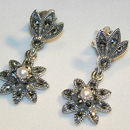Sterling Silver Marcasite And Pearl Earrings
