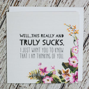 'This Really And Truly Sucks' Sympathy And Empathy Card - sympathy & sorry cards