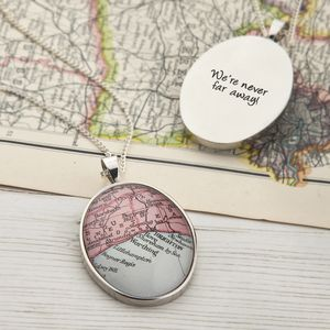 Map Personalised Pendant Necklace Oval - personalised