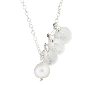 Sterling Silver Necklace With Pearl And Three Discs