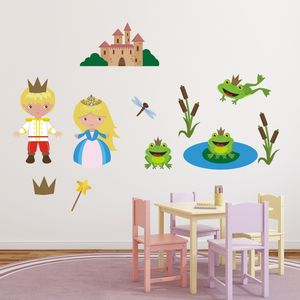 Prince, Princess And Frogs Wall Stickers - wall stickers