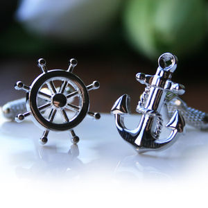 Anchor And Ship's Wheel Cufflinks - cufflinks
