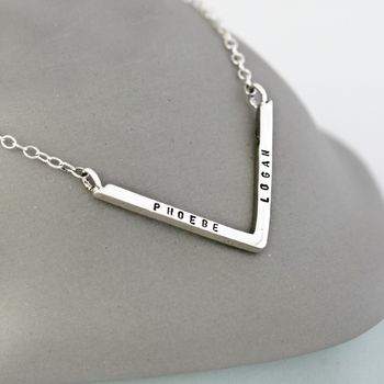 Personalised Chevron necklace in sterling silver