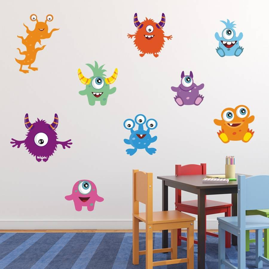 Friendly Monsters Wall Stickers Pack  sc 1 st  Notonthehighstreet.com & friendly monsters wall stickers pack by mirrorin ...