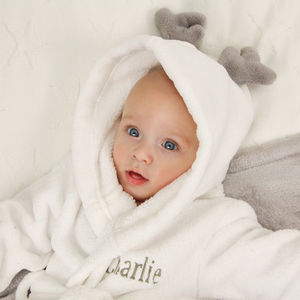 Personalised Antler Fleece Dressing Gown - baby's first christmas
