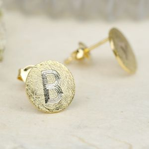 Engraved Initial Scratched Metal Disc Earrings - jewellery for women
