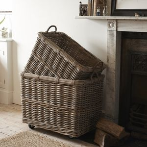 Rectangular Rattan Log Basket With Wheels And Handles