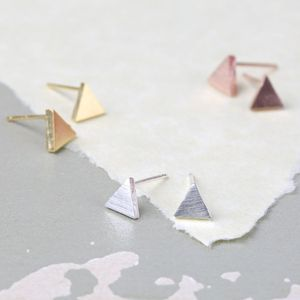 Tiny Brushed Triangle Earrings - rose gold jewellery