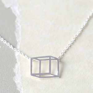 Delicate Silver Isometric Cube Necklace - necklaces & pendants