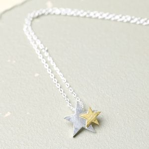 Starry Nights Silver And Gold Star Necklace - stocking fillers under £15