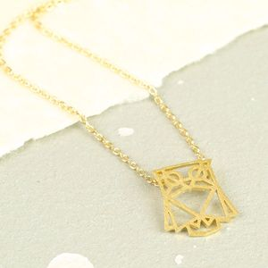Geometric Cut Out Owl Necklace
