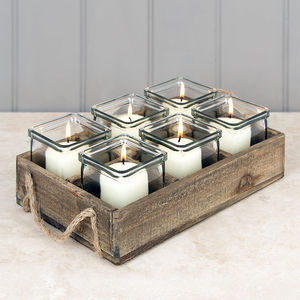 Set Of Six Tea Lights In Vintage Style Tray - lighting