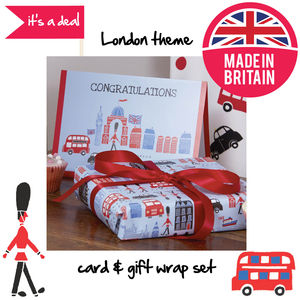 London Theme Congratulations Gift Wrap And Card Set
