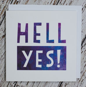 'Hell Yes!' Congratulations Card - wedding cards & wrap
