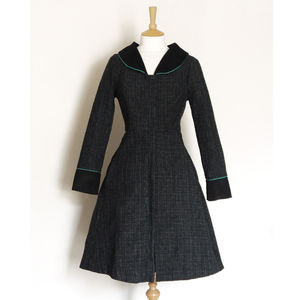 Fit And Flare Coat With Piping Detail