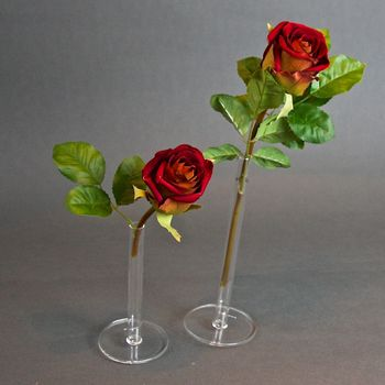 Pipette Bud Vase With Faux Rose