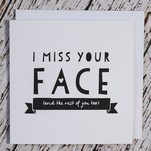 'I Miss Your Face' Valentine's And Friendship Card - cards & wrap