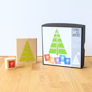 Christmas Tree And Present Rubber Stamp Set