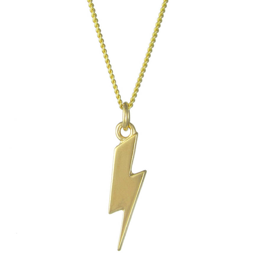 lightning bolt necklace brass by black pearl