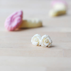 Rose Flower Earrings Pastels