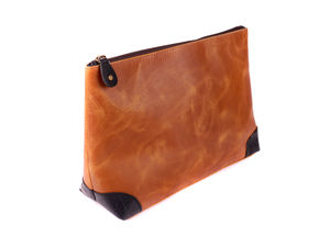 Leather Wash Bag Neon - men's grooming & toiletries