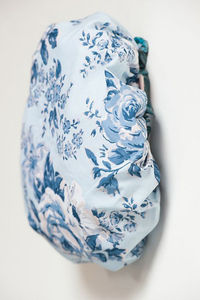 Cotton Bath Hat In Royal Blue Rosetta Print