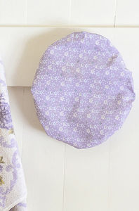 Cotton Bath Hat In Lilac Spring Mini Orchid Print