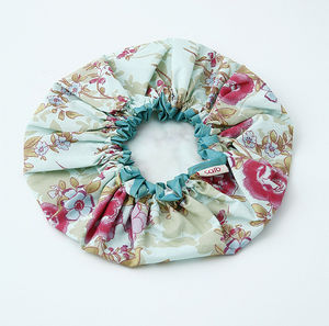 Cotton Bath Hat In Blue Rose Print