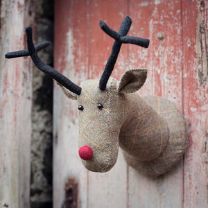 Tweed Reindeer Head - hanging decorations