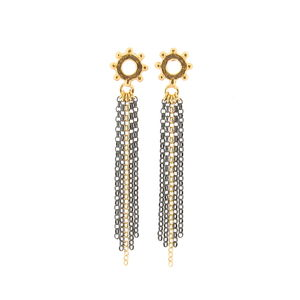 Casia Tassel Earrings Gold And Black - earrings