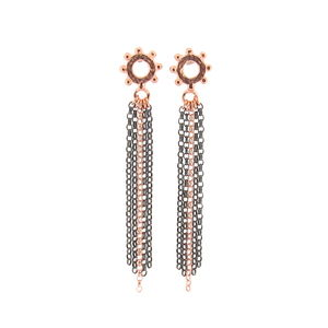 Casia Tassel Earrings Rose Gold And Black - earrings