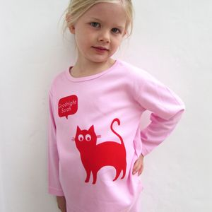 Girls Personalised Pyjamas Cat Print
