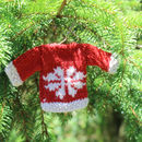 Christmas Decorations Set Of Three Handknitted Jumpers