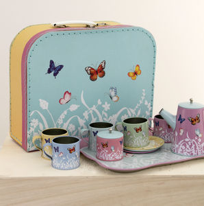 Butterfly Children's Tin Tea Set - traditional toys & games