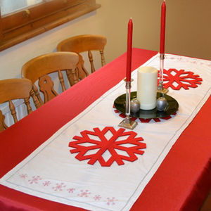 Red Snowflake Christmas Table Runner - bed, bath & table linen