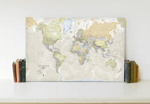 Classic Map Of The World Canvas Print - contemporary art