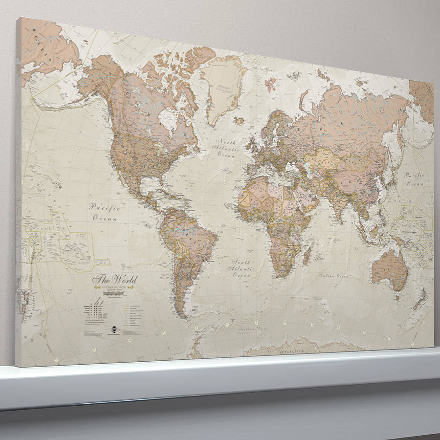 Canvas Antique Map Of The World By Maps International - World map canvas