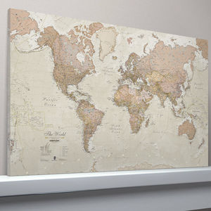 Antique Map Of The World Canvas Print - contemporary art