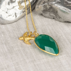 Gold Free As A Bird Gemstone Necklace