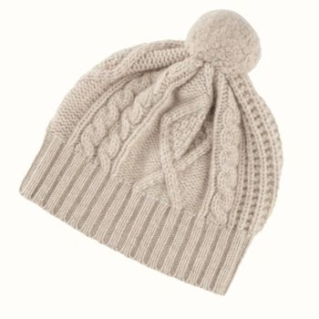 Pure Cashmere Cable Knit Hat