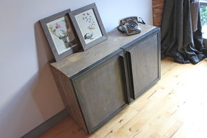 Sam Reclaimed Pine And Steel Media Unit - living room
