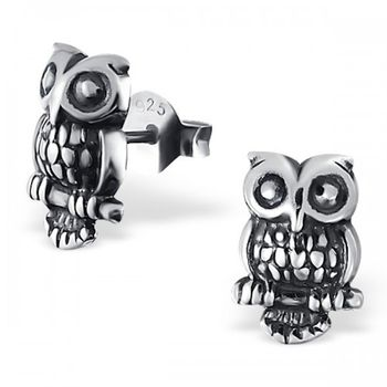 Owl Earrings In Sterling Silver