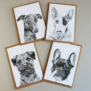 A Set Of Four Dog Cards Of Your Choice… - birthday cards