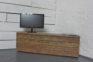 Reclaimed Wood Long Low Drawer Unit