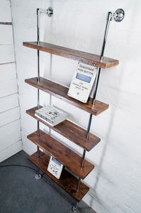 Ruth Reclaimed Wood And Chrome Pipe Bookcase - shelves