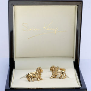 Lion Cufflinks In Solid Gold - more