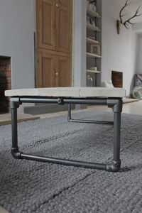 White Washed Reclaimed Wood Coffee Table - coffee tables